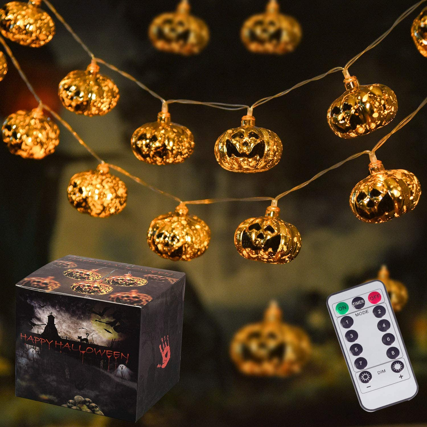 30LED Halloween String Lights, 8 Modes Pumpkin Lights Battery Powered Lights with Remote for Halloween Indoor and Outdoor Decor (Golden)