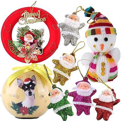Classic tradicional bolas de árbol de Navidad adornos irrompibles Navidad perro con parpadeante luz muñeco de