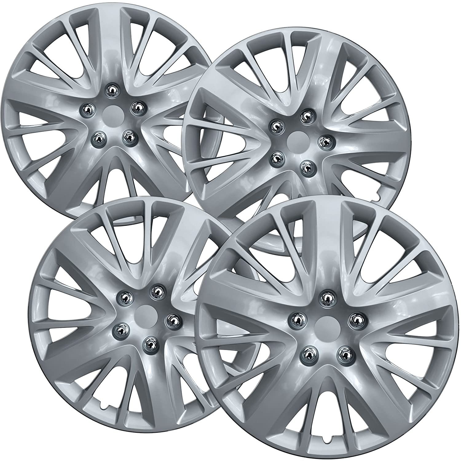 Hub Caps for 18in Wheels Rim Cover Hubcaps 18 inch Wheel Covers - Set of 4 Snap On Auto Tire Replacement Exterior Cap Car Accessories Silver Hubcap Best for 18inch Cars Standard Steel Rims