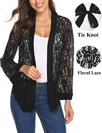 81496588a70 Women s See Through Floral Lace Tie Front Bell Sleeve Bolero Jacket Lace  Shrug Cardigan (Black