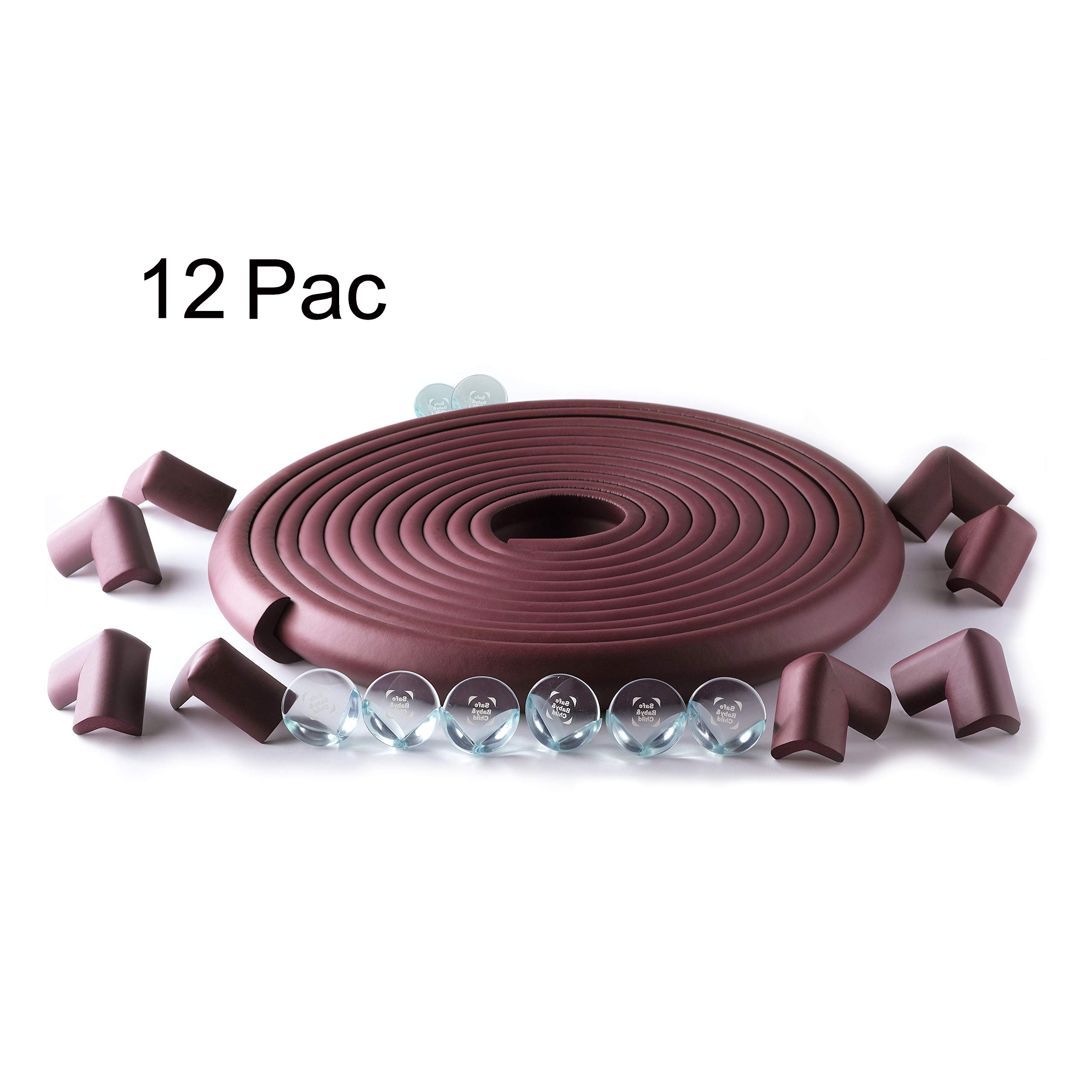 SafeBaby & Child Proofing 23.2ft Long Set -16 Corner Guards Baby proofing Edge with Clear Protective Bumpers for Furniture. Cushion Foam Strip Brick pad childproof Fireplace Guard for Toddlers. Brown