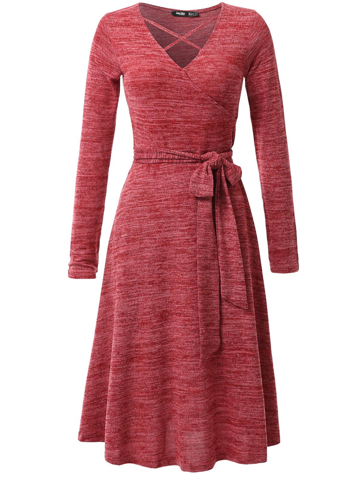 JayJay Women Casual Caged Neck Long Sleeve Knit Sweater Faux Wrap Dress With Bow Belt,Red,2XL