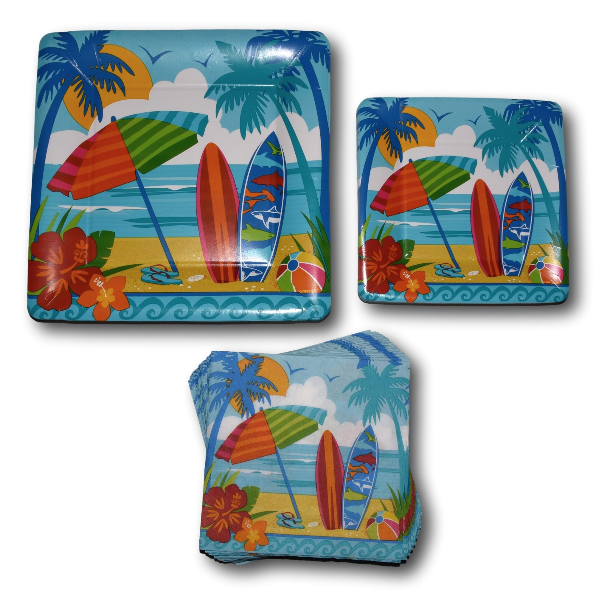 Combined Brands Summer Surfboard Beach Hawaiian Tropical Luau Paper Plates Napkins Party Supply Bundle - Picnic Tableware Set Includes - Beach Dinner Plates - Dessert Plates Napkins