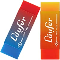 Läufer 69825 Plast Color - Goma de borrar, bicolor, borra fiablemente lápices y lápices de colores, incluye 2 gomas de…