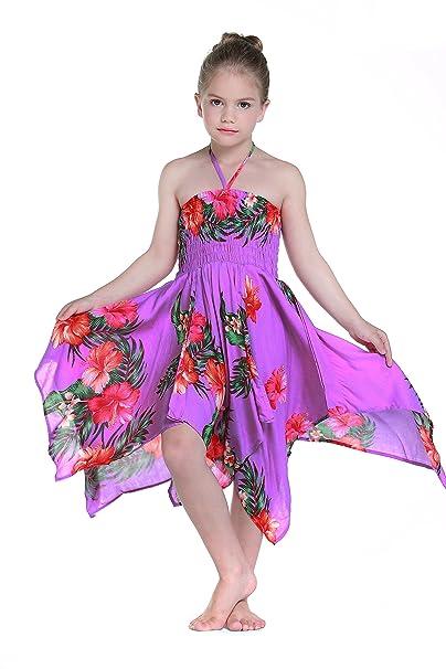 Niña gitano Botón desigual Hawaiian Luau vestido en Púrpura 12