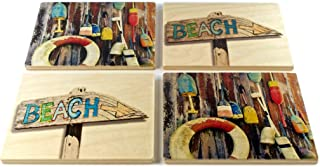product image for Beach and Buoys Coasters - from Original Painted Photography by Martha Everson - Set of 4 Wooden Coasters