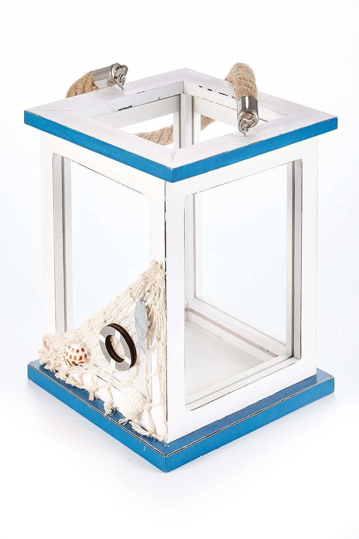 HEITMANN DECO Madera de Farol Maritim, Blanco/Azul, 14 x 14 x 19,5 cm