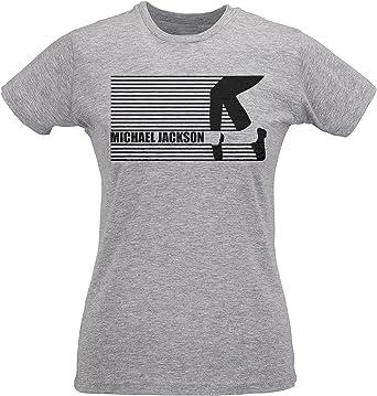 LaMAGLIERIA Camiseta Mujer Slim Michael Jackson Shoes Artwork - Maglietta 100% algodòn Ring Spun: Amazon.es: Ropa y accesorios