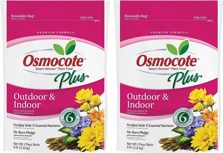 Osmocote 274850 Smart-Release Plant Food Plus Outdoor & Indoor, 8 lbs(Pack of 2)