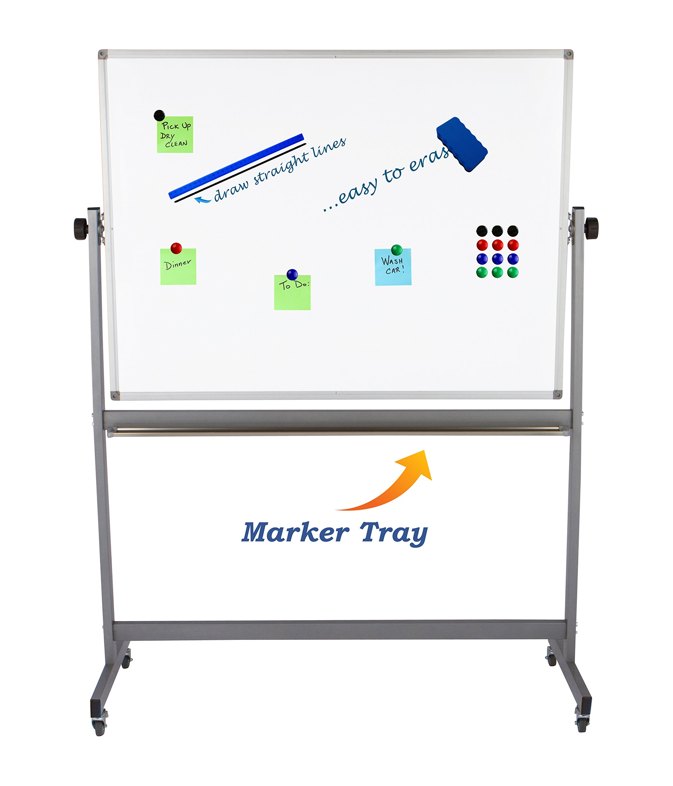 "Magnetic Mobile Whiteboard Large On Stand Double Sided Flip Over Dry Erase Reversible Portable Home Office Classroom Board 36 x 48"" Inch with 4 Markers 12 Magnets Eraser and Ruler Easel Aluminum Frame by Dapper Display (Image #6)"