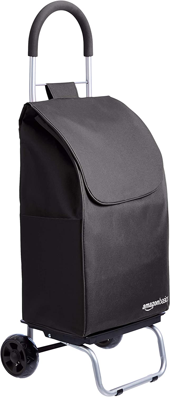 AmazonBasics Folding Shopping Cart Converts into Dolly, 36 inch Handle Height, Black