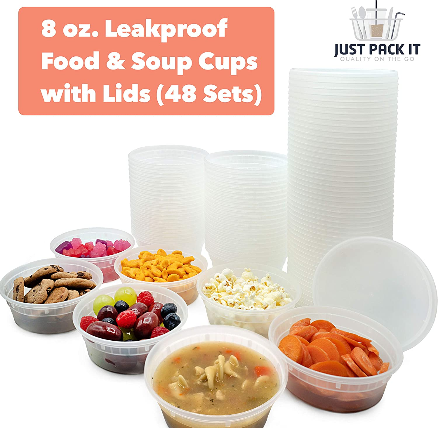 [48 Pack - 8 oz] Plastic Soup Cups Deli Food Storage Containers With Tight Lids - Portion Control Non-Spill Reusable Stackable Freezer Microwaveable & Dishwasher Safe Lunch Boxes - BPA-Free Heavy Duty