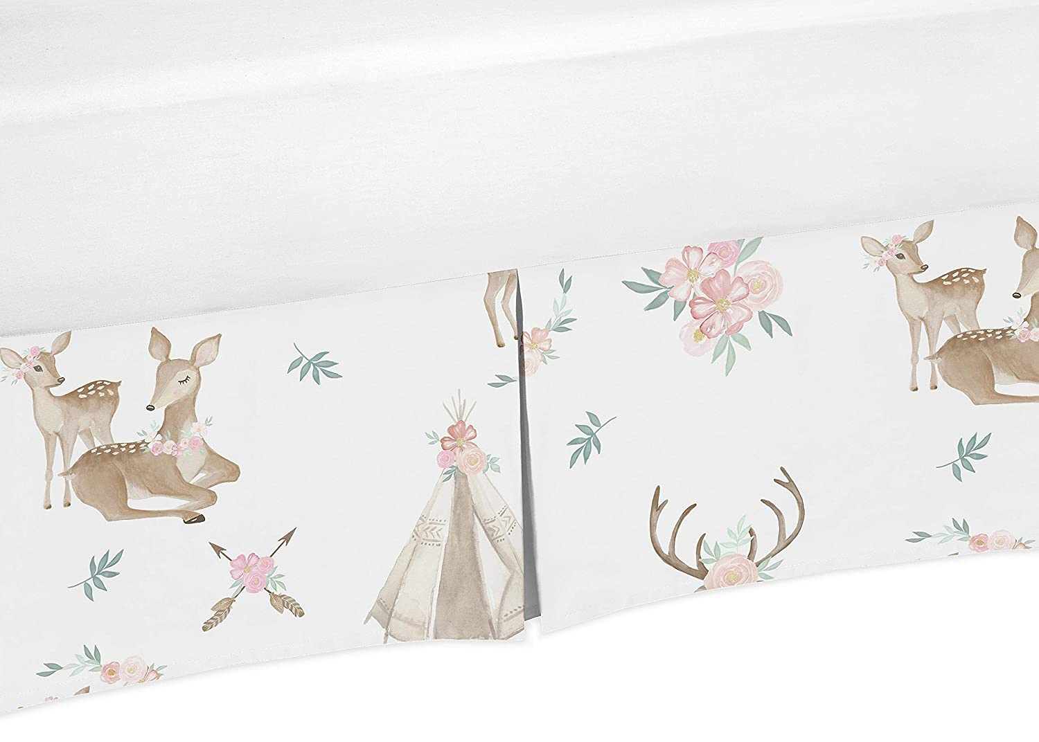 Sweet Jojo Designs Blush Pink Mint Green and White Boho Girl Pleated Baby Crib Bed Skirt Dust Ruffle for Woodland Deer Floral Collection