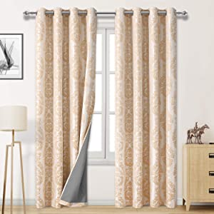 DWCN 100% Blackout Curtains for Bedroom - Thermal Insulated Privacy Energy Saving Jacquard Grommet Drapes with Back Coating for Living Room, W 52x L 84 inch, Champagne, Set of 2