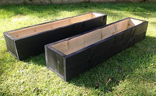 2 X Extra Large 5ft 150cm Long Wooden Garden Planters Painted