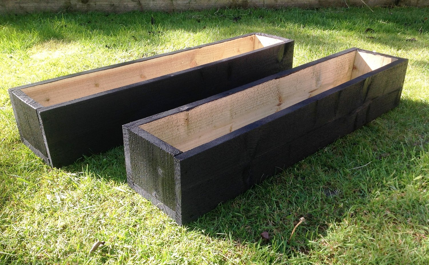 2 x 150cm Long Wooden Garden Planters - Painted Black: Fully Assembled - Just add plants: Fast & Free Delivery Home & Garden Designs