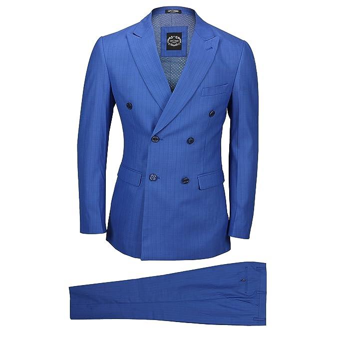 Amazon.com: Xposed traje de hombre 3 pieza doble hilera ...