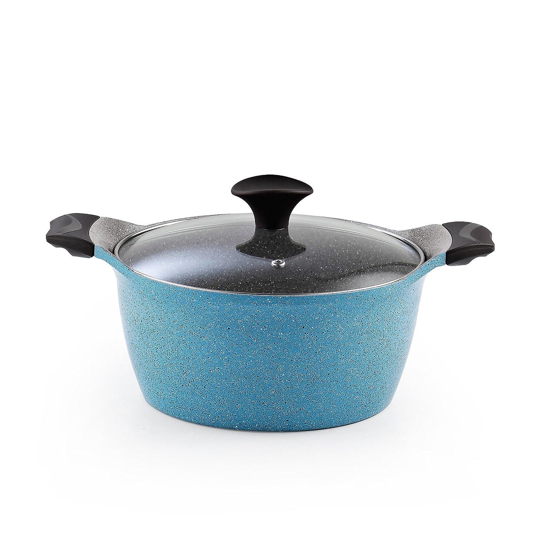 Cook N Home 4.2-Quart Nonstick Ceramic Sauce Pot High Casserole Pan with Lid, Blue 02563