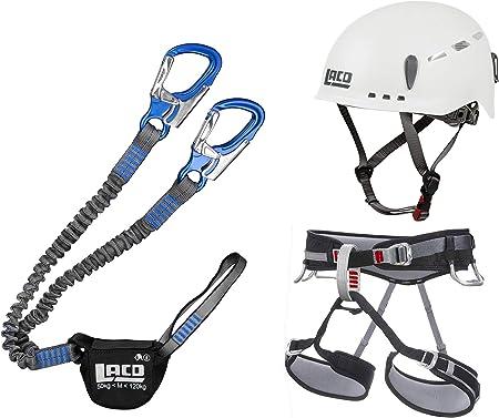 LACD Juego de vía de escalada Pro Blue + arnés de escalada Start tamaño S + casco protector 2.0 White