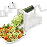 ADOV Tri-Blade Spiralizer Vegetable Slicer Veggie Spiral Cutter Strong Heavy Duty Zucchini Spaghetti Pasta Noodle Maker for Low Carb, Paleo, Gluten Free Meals