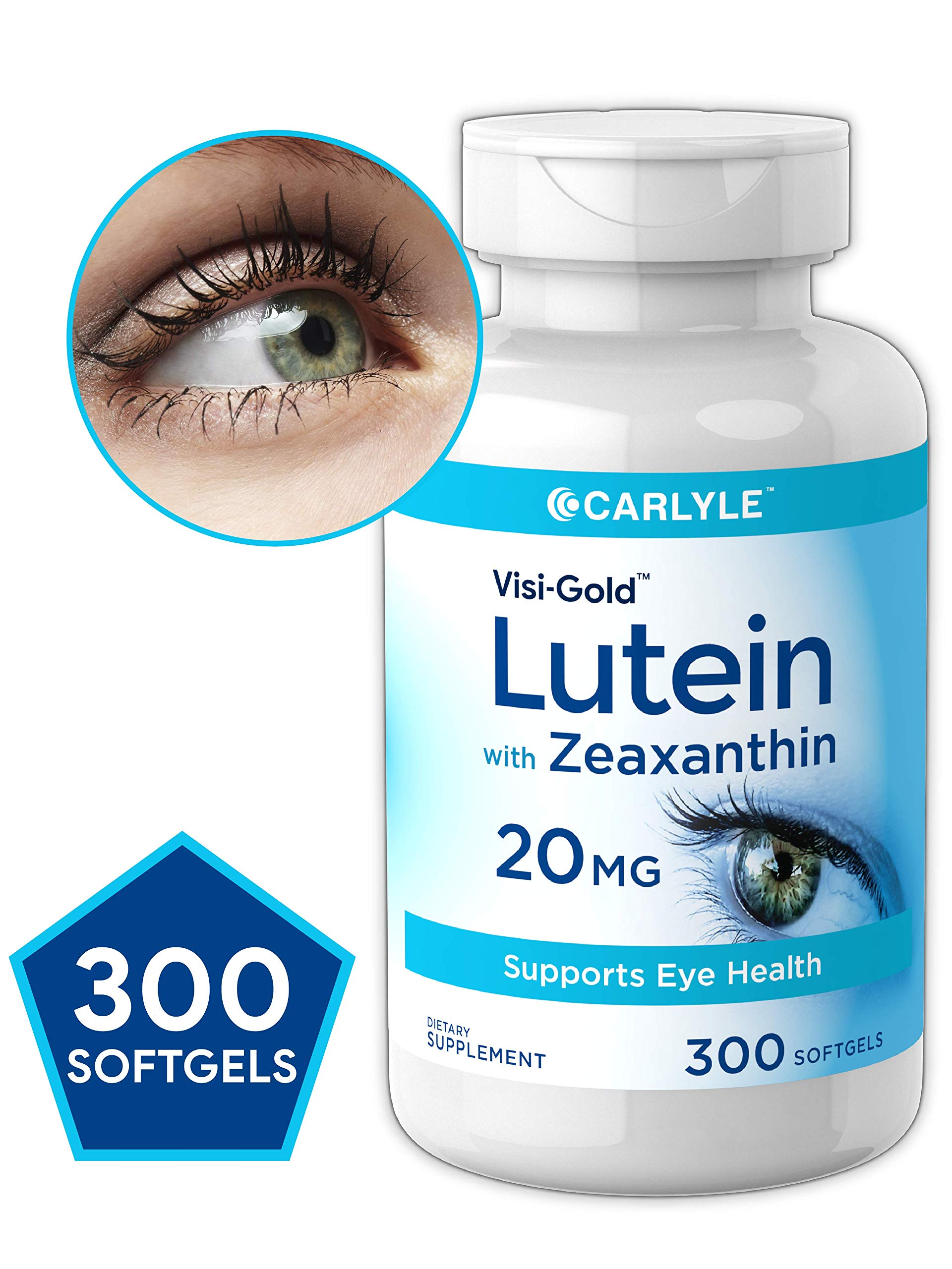 Lutein and Zeaxanthin 20 mg | 300 Softgels | Value Size | Supports Eye Health | Non-GMO, Gluten Free Supplement | by Carlyle by Carlyle