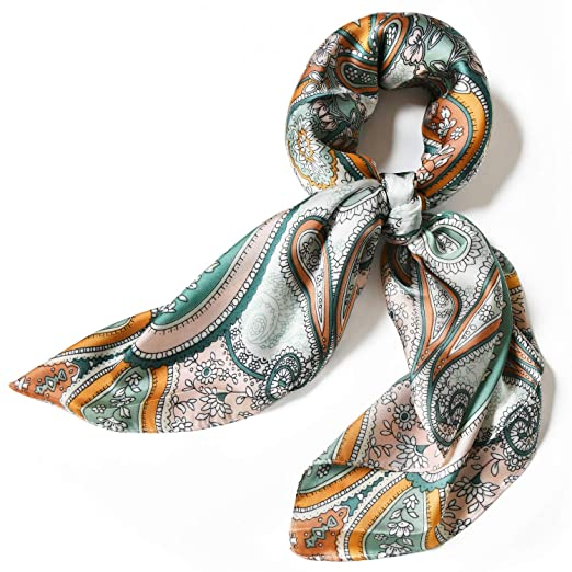 """04cae5114bbe7 Image Unavailable. Image not available for. Color: Satin Silk Scarfs for  Women 27"""" Silky Head Hair Scarf Fashion Neck Scarves ..."""