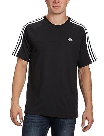 16784aa691a5e adidas Essentials 3-Stripes Men's Crew Neck T-Shirt Black black / white Size