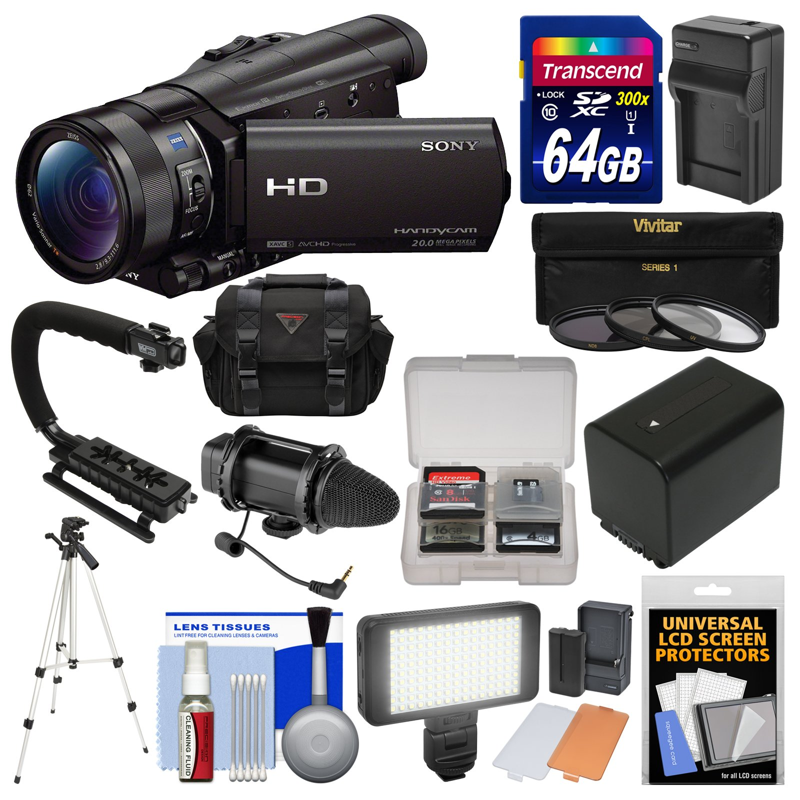 Sony Handycam HDR-CX900 Wi-Fi HD Video Camera Camcorder with 64GB Card + Case + LED Light + Microphone + Battery & Charger + Tripod + Filters Kit
