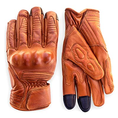 Premium Leather Motorcycle Gloves (Camel) Cool, Comfortable Riding Protection, Cafe Racer, Half Gauntlet with Mobile Touchscreen (Medium): Automotive