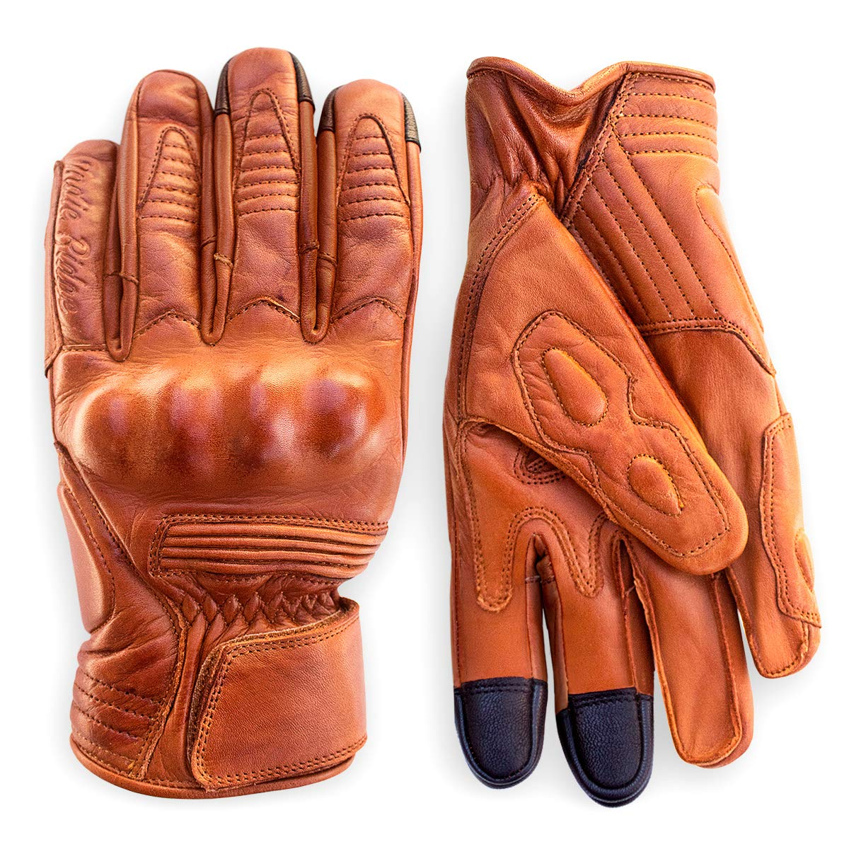 Premium Leather Motorcycle Gloves (Camel) Cool, Comfortable Riding Protection, Cafe Racer, Half Gauntlet with Mobile Touchscreen (Small) by Indie Ridge
