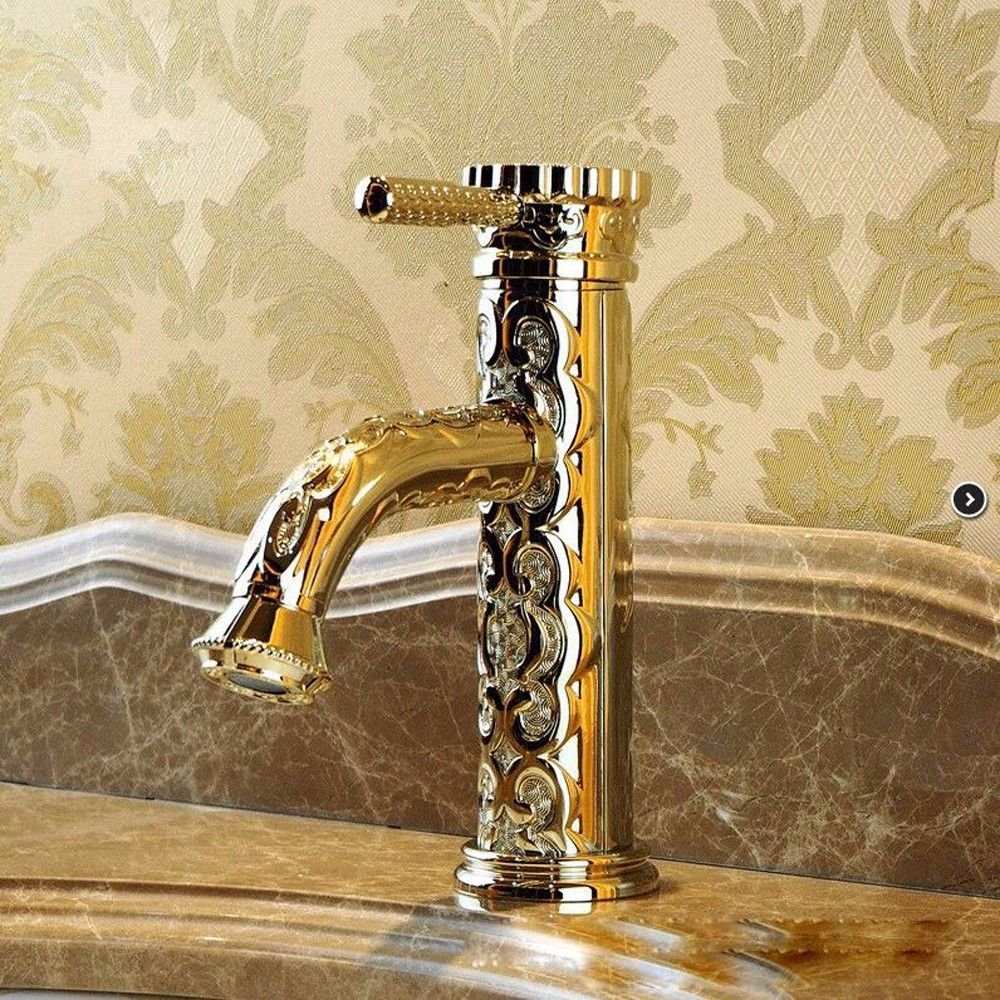 C Hlluya Professional Sink Mixer Tap Kitchen Faucet All copper carved faucet antique basin faucet hot and cold water basin taps,