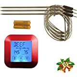 The Clever Life Company Instant Read Digital Meat Thermometer with 3 Stainless Steel Temperature Probes for Cooking Food in Oven, BBQ, Smoking or Grilling Meat, Roasting Turkey, Even Candy, Red