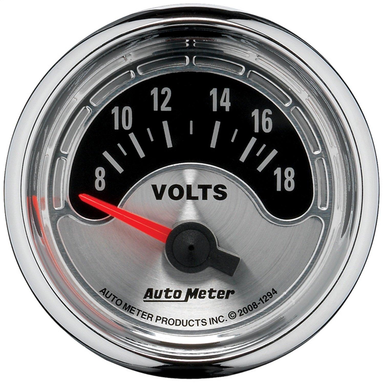 Auto Meter 1294 American Muscle 2-1/16'' 8-18 Volt Short Sweep Electric Voltmeter Gauge