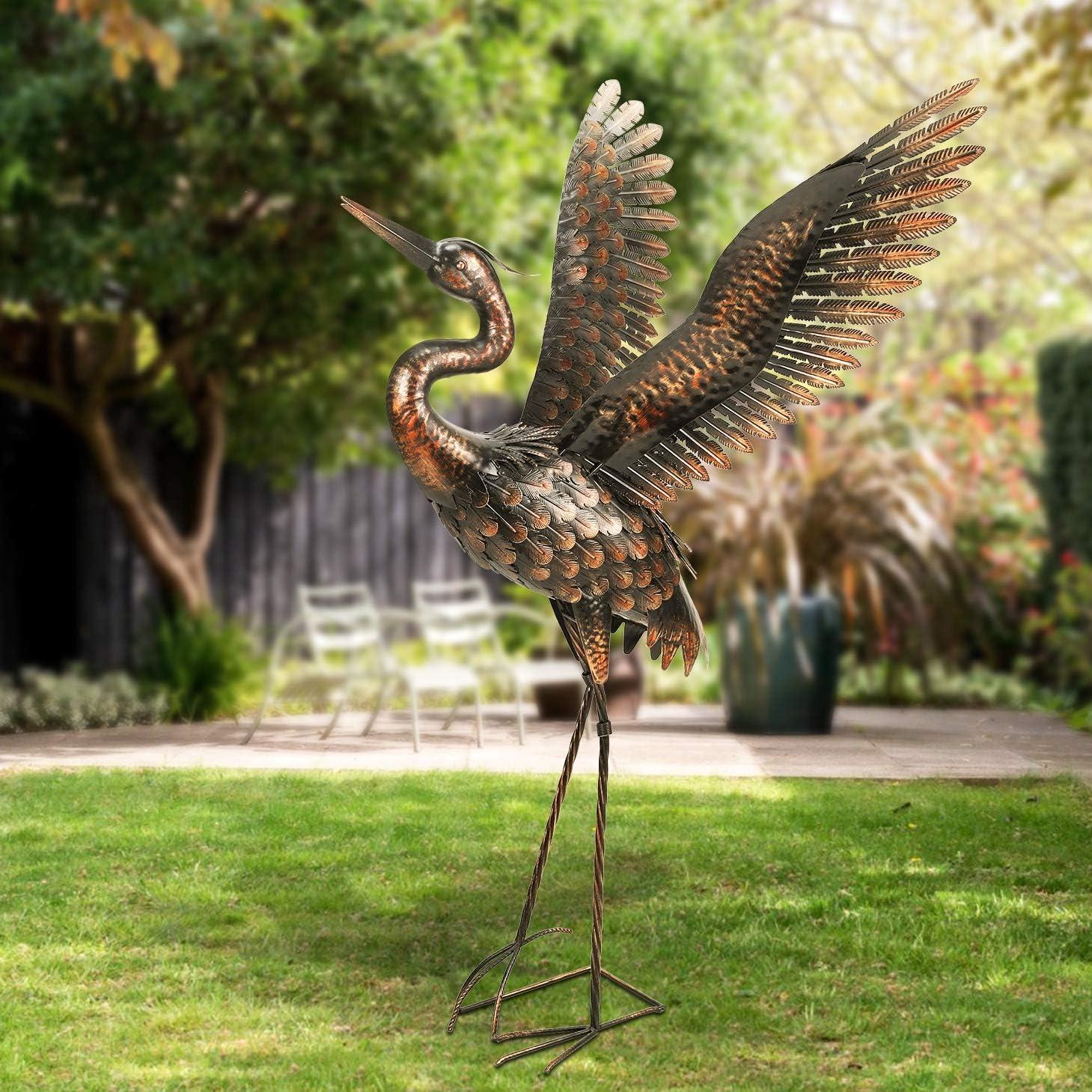 chisheen Garden Crane Statues for Outdoor Metal Yard Art Heron Statues Sculptures (Curved Neck)