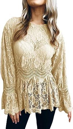 Lanceyy Camisas Encaje Mujer Transparentes Blusa Encaje Otoño Informales: Amazon.es: Ropa y accesorios