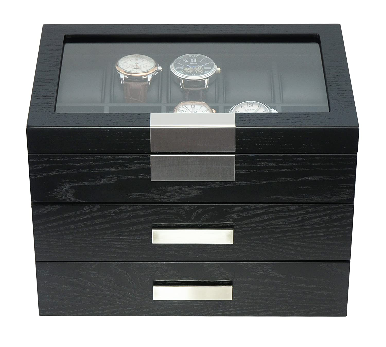 Timelybuys 30 Black Wood Personalized Watch Box Display Case 3 Level Storage Jewelry Organizer With Glass Top Stainless Steel Accents And 2 Drawers