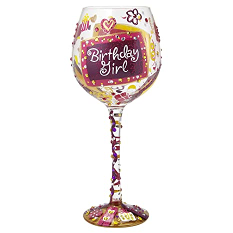 "eb0084b40f0 Image Unavailable. Image not available for. Color  Designs by Lolita ""Bling  Birthday Girl"" Hand-painted Artisan Super Bling Wine Glass"