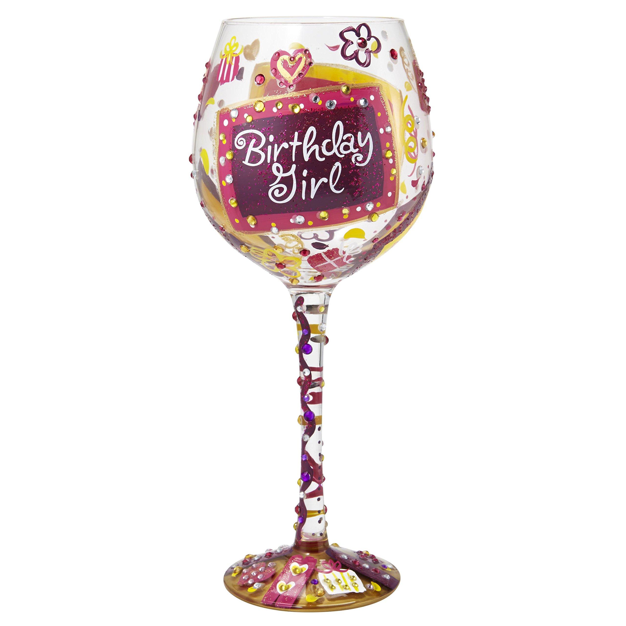 "Designs by Lolita ""Bling Birthday Girl"" Hand-painted Artisan Super Bling Wine Glass, 22 oz."