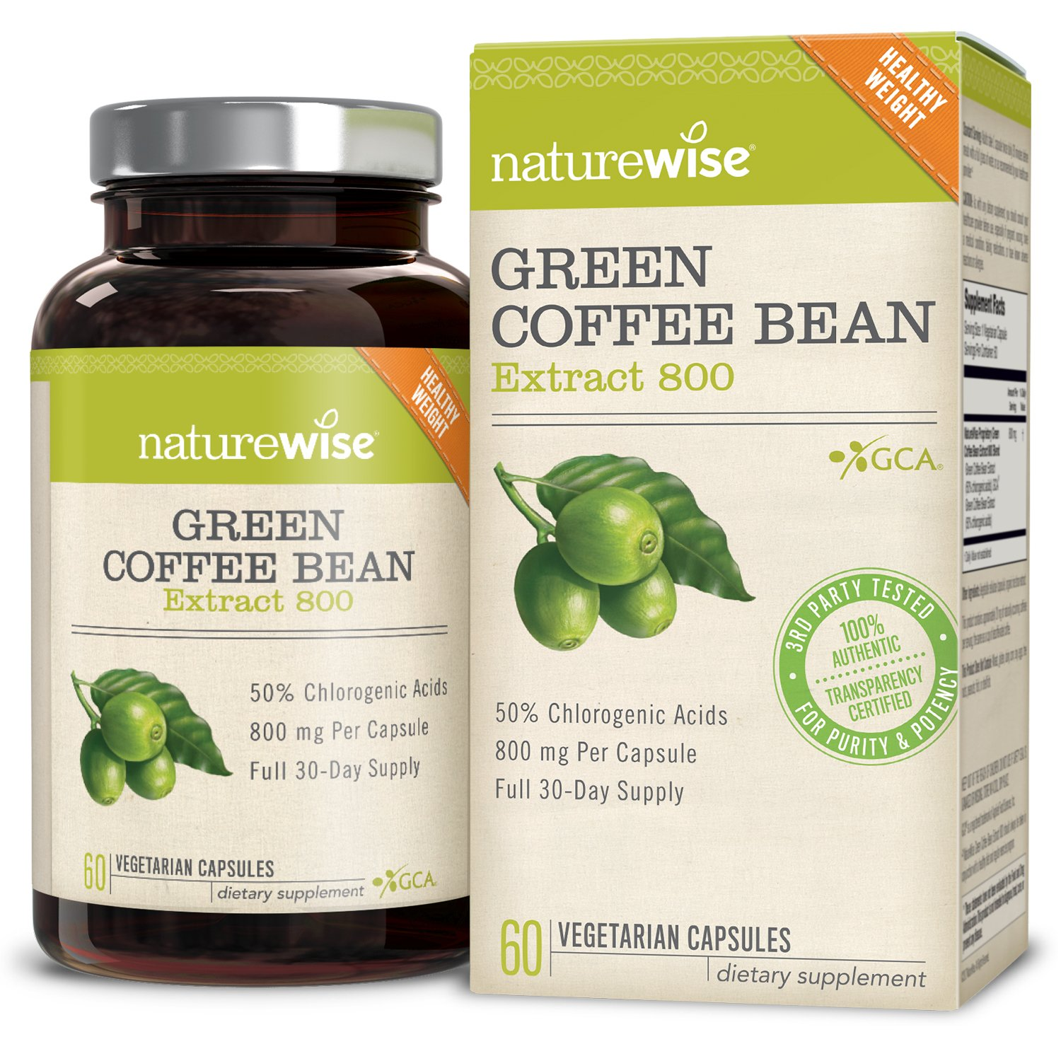 NatureWise Green Coffee Bean Extract 100% Pure with Antioxidants, All Natural Weight Loss Supplement, Maintains Normal Blood Sugar Levels, 50% Chlorogenic Acid, Non-GMO, Gluten-Free,