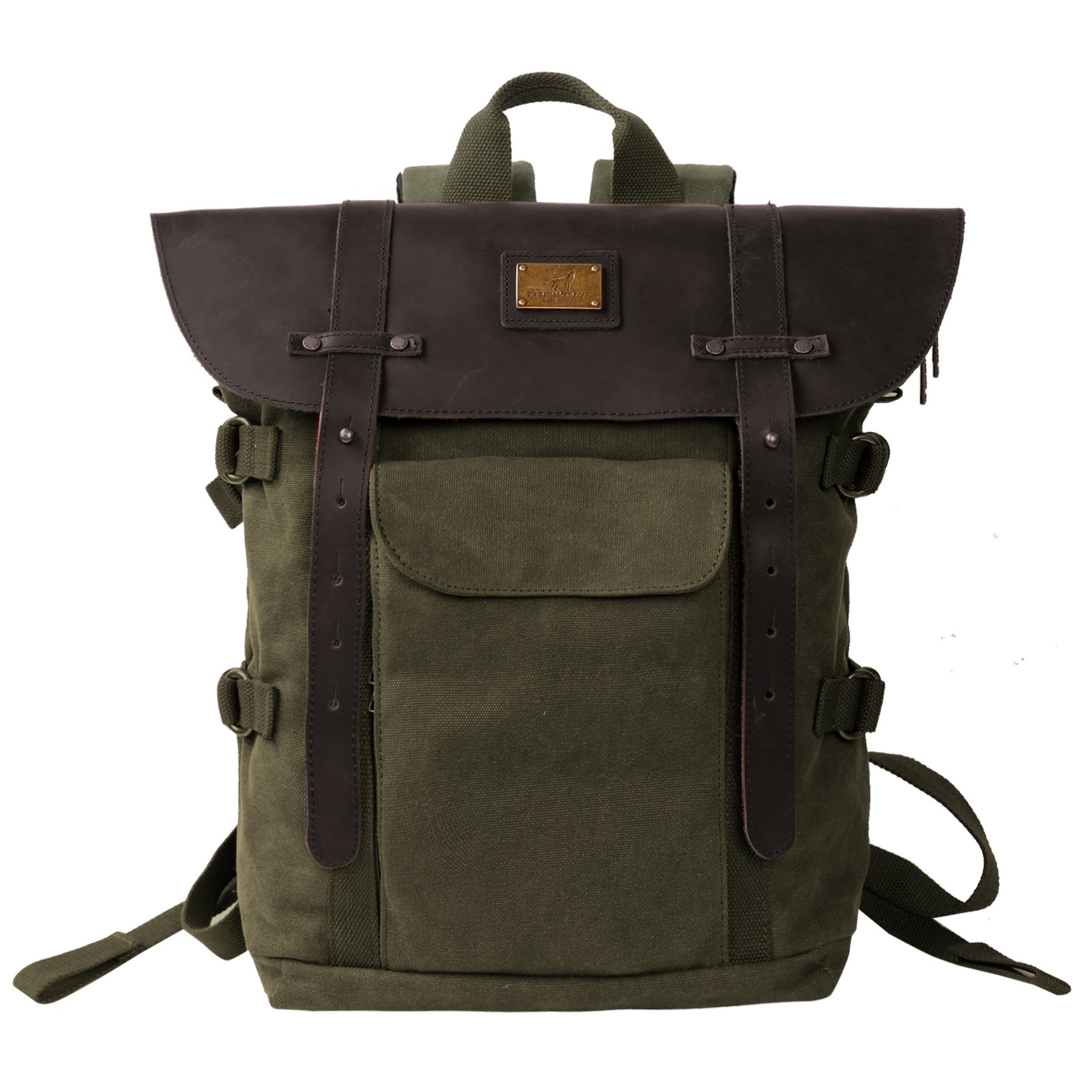 33f0531288 Leather Backpack for Men TOPWOLFS Canvas Backpack Vintage Rucksack fit  15.6″ Laptop Anti-theft Pocket Multifunction Books School Travel Bag