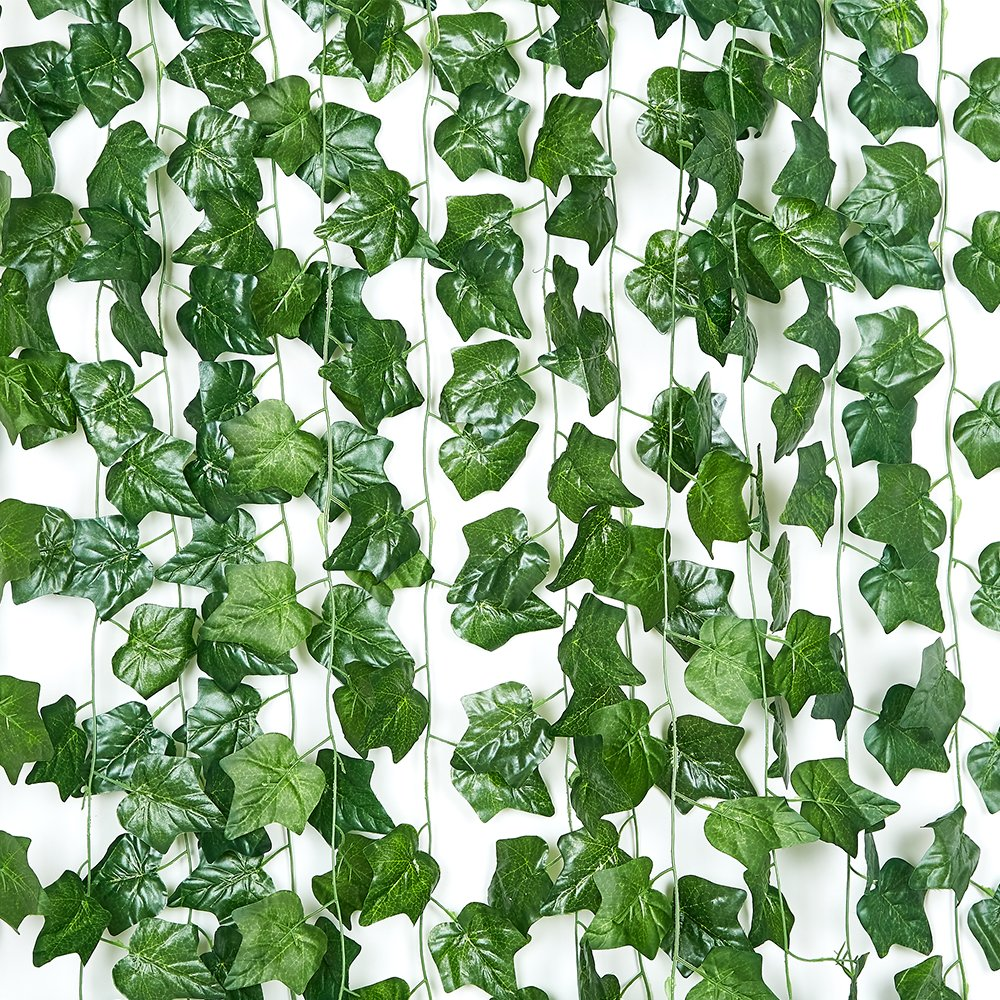 90FT-12 Pack Artificial Ivy Hanging Plants Greenery Faux Vines Fake Green Leaves Garland for Wedding Wall Décor Home Kitchen Garden Office