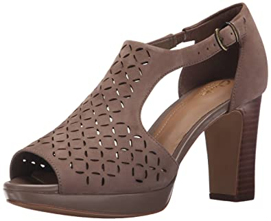 Clarks Women's Jenness Energy Dress Sandal, Pebble Nubuck, ...