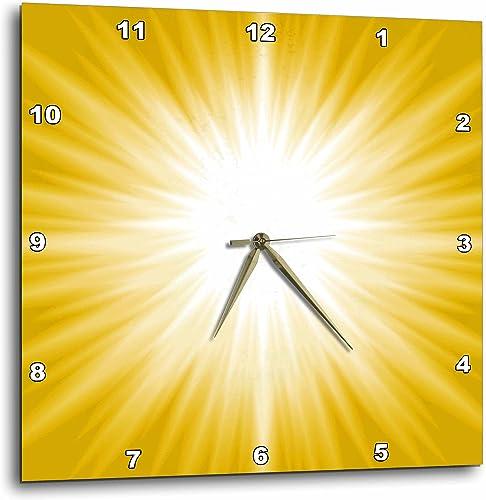 3dRose 3D Rose White Sun Burst On A Yellow Background-Wall Clock, 15-inch DPP_213812_3