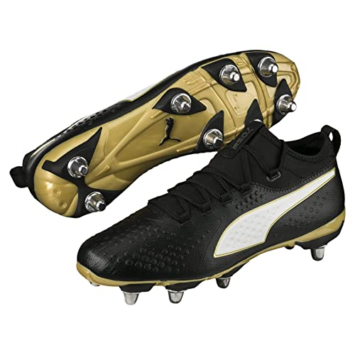 6d651672b3d Puma One H8 SG Rugby Boots Black White Gold  Amazon.co.uk  Shoes   Bags