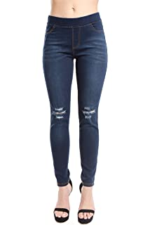 cb8cf0cfe8f Trinity Jeans Women's Distressed/Ripped/Cut Pull On Stretch Skinny Denim  Jeggings