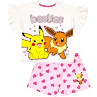 Vanilla Underground Pokemon Besties Pikachu Eevee Girl's Pink White Short Sleeve Short Leg Pyjamas