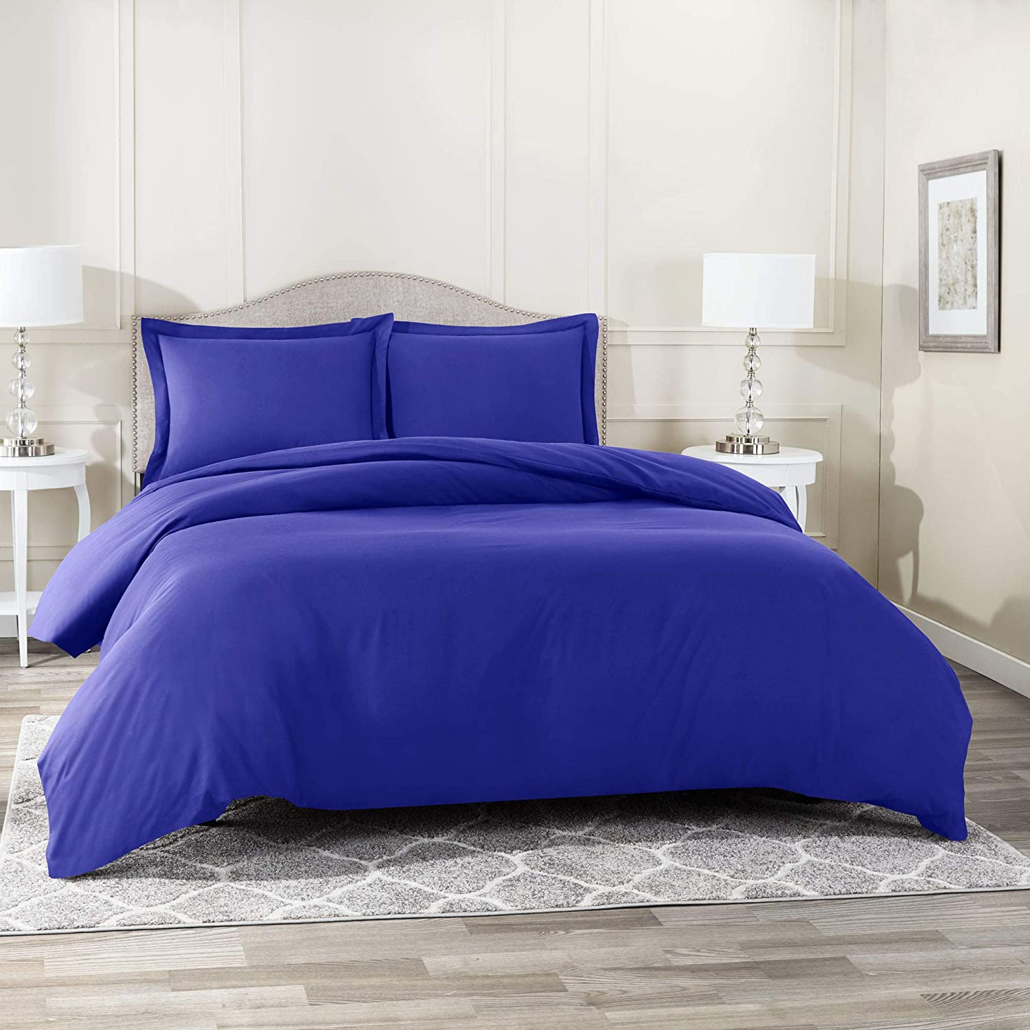 "Nestl Bedding Duvet Cover 3 Piece Set – Ultra Soft Double Brushed Microfiber Hotel Collection – Comforter Cover with Button Closure and 2 Pillow Shams, Royal Blue - King 90""x104"""