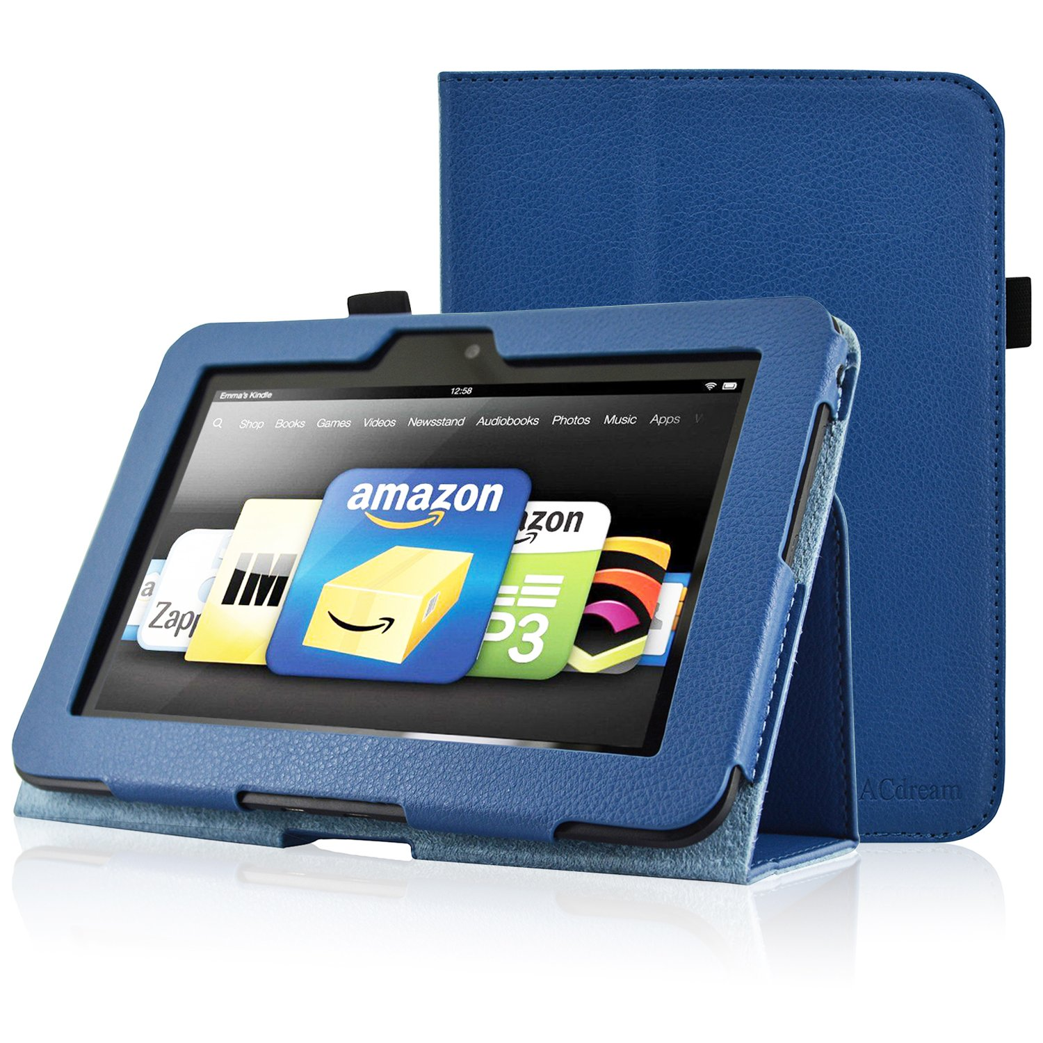 ACdream Kindle Fire HD 7 (2012 Version) Case, Amazon Kindle Fire HD7 (2012 Previous Model) Case - PU Leather Cover Case for Kindle Fire HD 7(2012 Version) with Auto Sleep Wake Function, Dark Blue