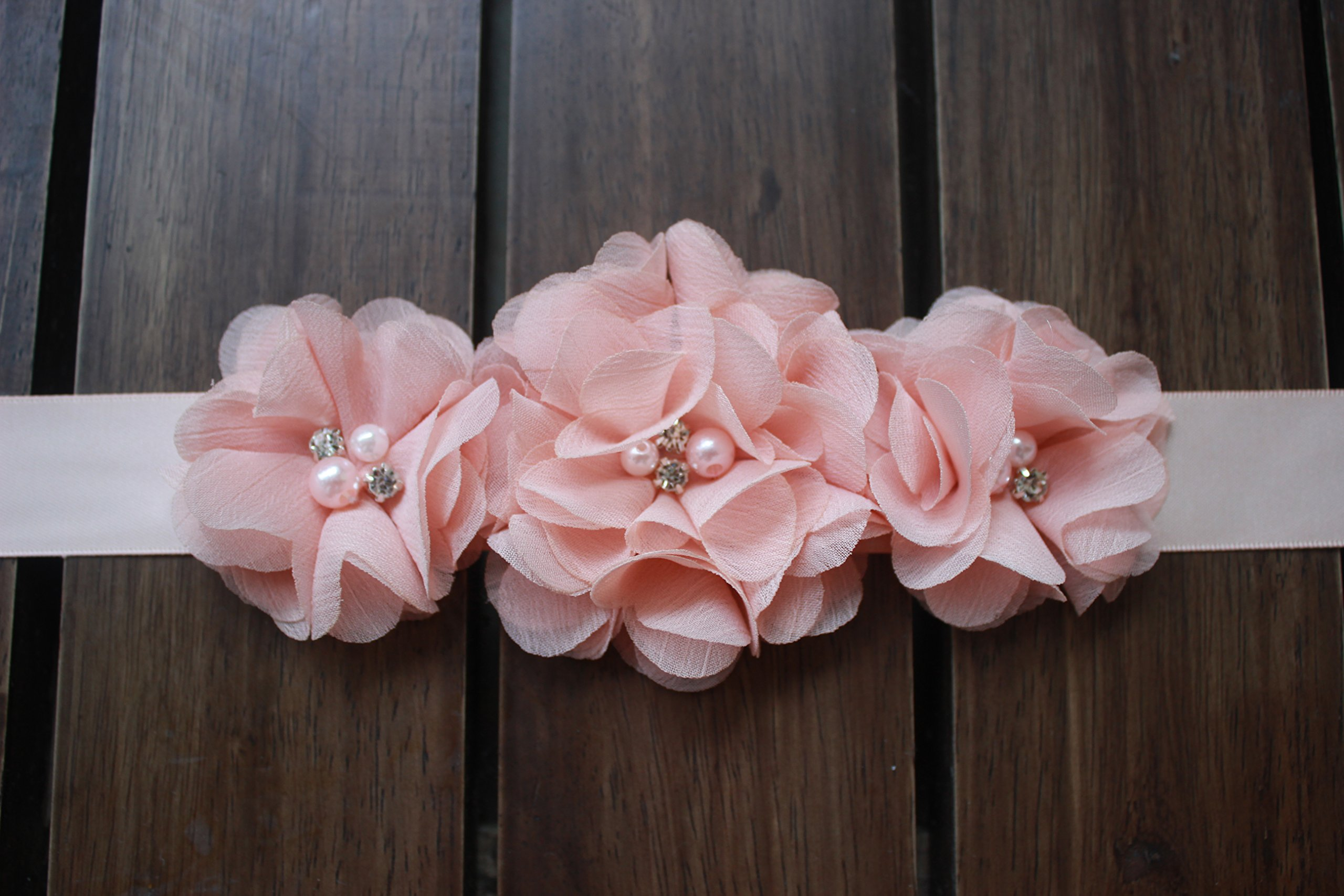 Bridesmaid and Flowergirls sashes wedding sash pearls flowers belts (Peach) by nania (Image #4)