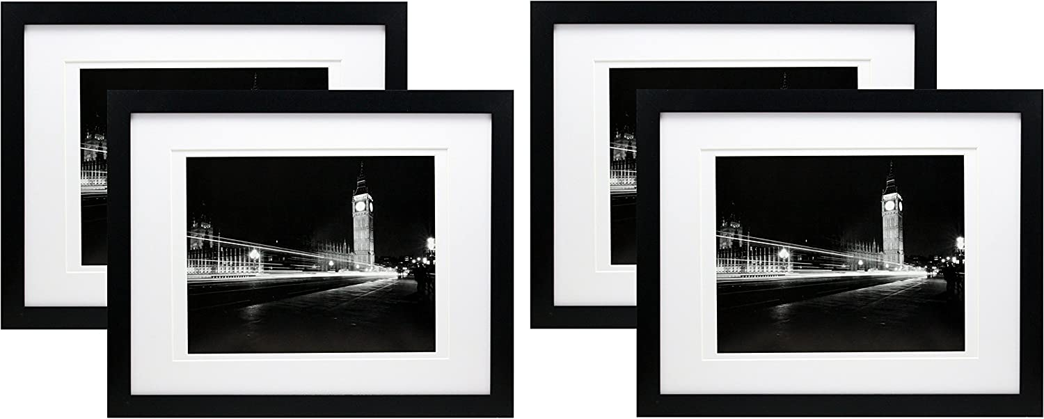 11x14 Black Gallery Picture Frame with 8x10 and 8.5x11 Mats - 4 Pack - Wide Molding - Includes Both Attached Hanging Hardware and Desktop Easel - Frames Display Pictures Documents Certificates Mat